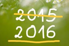 Datum 2015 die tot 2016 met de hand geschreven op echte natuurlijke groene achtergrond gaan Stock Afbeeldingen