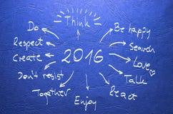 Datum 2016 Doelstellingen met de hand geschreven op blauwe achtergrond Stock Foto