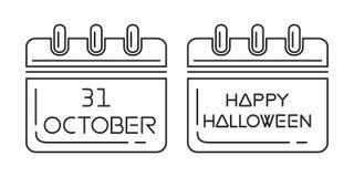 Datum för allhelgonaaftonkalender31 Oktober ferie i kalender vektor illustrationer