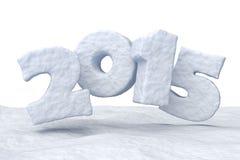Datum 2015 för det nya året gjorde av snö Royaltyfri Fotografi