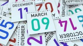 Datum för mars 9 på den betonade kalendersidan, tolkning 3D stock illustrationer