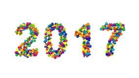Datum för nytt år som 2017 bildas från färgrika bollar stock video