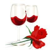 Datum för vin för valentindagkort rosa Arkivbild