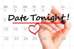 Datum heute Abend markiert auf Kalender lizenzfreie stockfotos