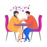 Datum i ett kafé, försiktiga ord, en förklaring av förälskelse Tecken för Valentine Day stock illustrationer