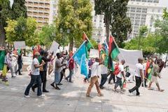 DATUM: 30 kunnen 2015 PLAATS: Sintagma in Athene Griekenland GEBEURTENIS: de dertigste kan dag in herinnering van Biafrans gevall Stock Foto