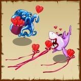 Datum leuke octopus met gift en hartstochtelijke haai Stock Fotografie