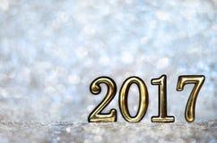 Datum 2017 op een zilveren achtergrond Stock Afbeeldingen