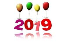 Datum 2019 som för ` s för nytt år flyger med färgrika ballonger stock illustrationer