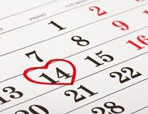Datum van 14 Februari de Dag van de Valentijnskaart Stock Foto's