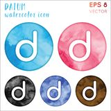 Datum watercolor symbol. Actual hand drawn style symbol. Lively Datum watercolor icon. Modern design for infographics or presentation stock illustration
