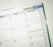 Datumbuch März 2007 Stockfotografie