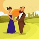 Datummärkning för vektoraffisch för bröllopsresa romantiskt begrepp stock illustrationer