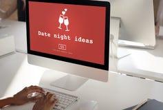 Datums-Nachtideen Valentine Romance Heart Dating Concept Stockfoto