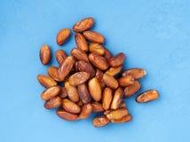 Daty, rozsypisko wysuszone owoc Tradycyjny jedzenie środkowy wschód, afryka pólnocna Odgórny widok, jaskrawy błękitny drewniany t Zdjęcie Royalty Free