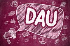 DAU - Cartoon Illustration on Red Chalkboard. Stock Image