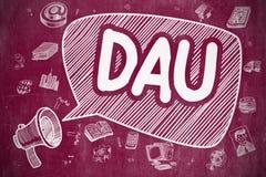 DAU - Illustration de bande dessinée sur le tableau rouge Image stock