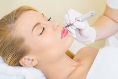 Dauerhaftes bilden auf Lippen Lizenzfreie Stockbilder