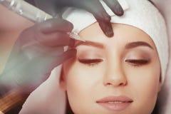 Dauerhaftes Make-up Tätowieren von Augenbrauen Lizenzfreies Stockbild