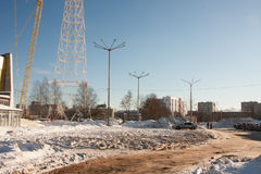 DAUERWELLE, RUSSLAND - Feb, 06 2016: Winterlandschaft stockbild