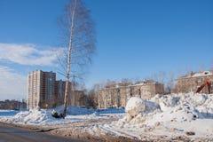 DAUERWELLE, RUSSLAND Feb, 06 2016: Winterstadtlandschaft lizenzfreies stockfoto