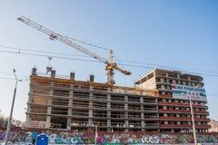 Dauerwelle, Russland - 31. März 2016: Bau eines neuen Hauses Stockbild