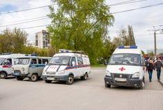 Dauerwelle, Russland - 9. Mai 2016: Autos des Services die Rettung Lizenzfreie Stockbilder