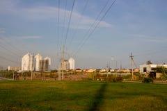 Dauerwelle, Russland - 26. September 2016: Bau von neuen Häusern Lizenzfreies Stockbild