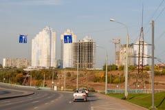 Dauerwelle, Russland - 26. September 2016: Bau von neuen Häusern Lizenzfreie Stockfotografie