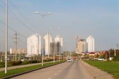Dauerwelle, Russland - 26. September 2016: Bau von neuen Häusern Stockbild