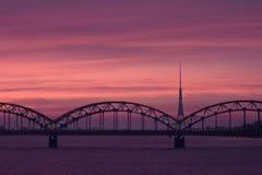 daugava моста над железной дорогой Стоковое Изображение RF