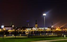 Daugava Embankment at night Royalty Free Stock Photography