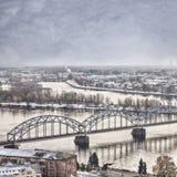 Daugava kolejowy most obrazy royalty free