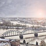 Daugava kolejowy most zdjęcia royalty free