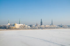 Daugavaflod i Riga Royaltyfri Foto