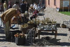 Daugavpils / Latvia – May 5 2018: Flea market was on holiday in Daugavpils fortress. stock photography