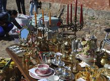 Daugavpils / Latvia – May 5 2018: Flea market was on holiday in Daugavpils fortress. stock photos