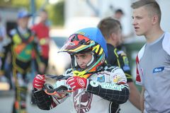 Speedway Rider from Latvia Jevgenijs Kostigovs. DAUGAVPILS, LATVIA -June 17, 2017: Match of polish NICE league Lokomotiv - Pila. Rider Jevgenijs Kostigovs royalty free stock images