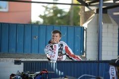 Speedway Rider from Latvia Kjastas Puodzhuks. DAUGAVPILS, LATVIA -June 17, 2017: Match of polish NICE league Lokomotiv - Pila. Rider Kjastas Puodzhuks stock photos