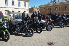 Daugavpils, Latvia, Maj/- 5 2018: Roczny zgromadzenie rowerzyści od Bałtyckich krajów w Daugavpils Fotografia Royalty Free