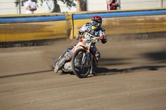 Speedway riders on the track. DAUGAVPILS, LATVIA -September 24, 2017: Speedway riders on the track. Open individual Latvian championship 2017 royalty free stock photography