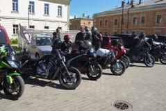 Daugavpils/Letland - Mei 5 2018: Het jaarlijkse verzamelen zich van fietsers van de Baltische landen in Daugavpils Royalty-vrije Stock Fotografie