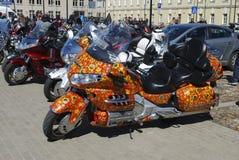 Daugavpils/Lettland - 5. Mai 2018: Jährliche Versammlung von Radfahrern aus den baltischen Ländern im Daugavpils stockbild