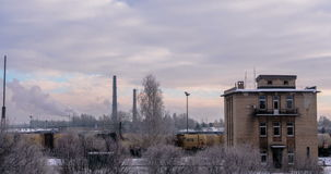 Daugavpils train station in winter - DSLR time lapse stock footage