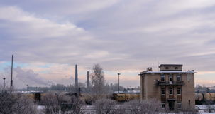 Daugavpils train station in winter - DSLR time lapse stock video