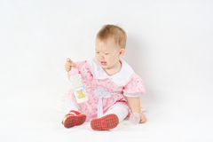 Daughter. Portrait of the beautiful cheerful baby Royalty Free Stock Photos