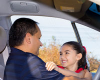 Daughter Affectionately Greets Father. At Car Royalty Free Stock Images