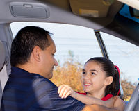 Daughter Affectionately Greets Father. At Car Royalty Free Stock Photos
