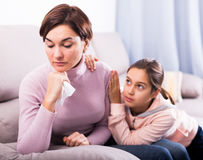 Daughter asks for forgiveness. And reconciled with her mother after quarrel stock photography