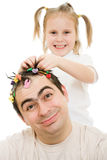 Daughter of braids cornrows his father Stock Images